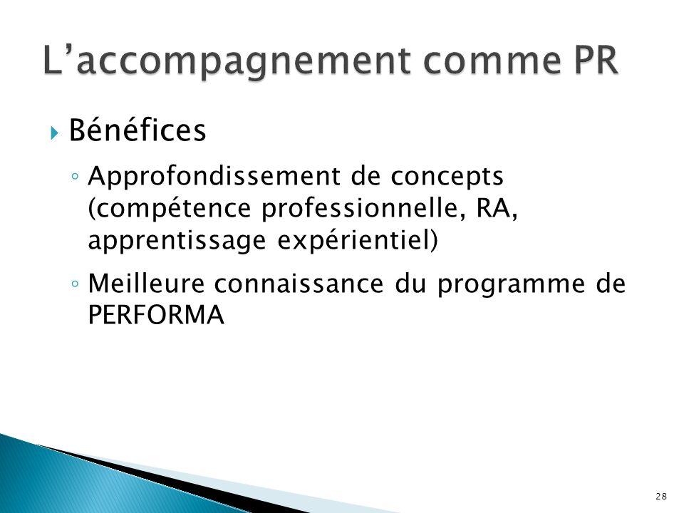 Bénéfices Approfondissement de concepts (compétence professionnelle, RA, apprentissage expérientiel) Meilleure connaissance du programme de PERFORMA 28