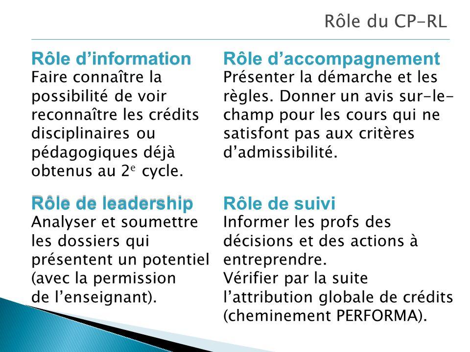 Rôle du CP-RL Rôle dinformation Rôle de suivi Rôle daccompagnement Rôle de leadership Rôle dinformation Faire connaître la possibilité de voir reconnaître les crédits disciplinaires ou pédagogiques déjà obtenus au 2 e cycle.