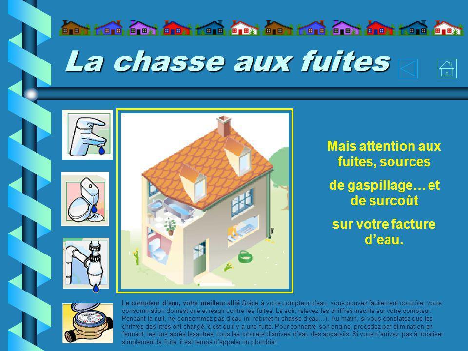 La chasse aux fuites Le compteur deau, votre meilleur allié Grâce à votre compteur deau, vous pouvez facilement contrôler votre consommation domestiqu