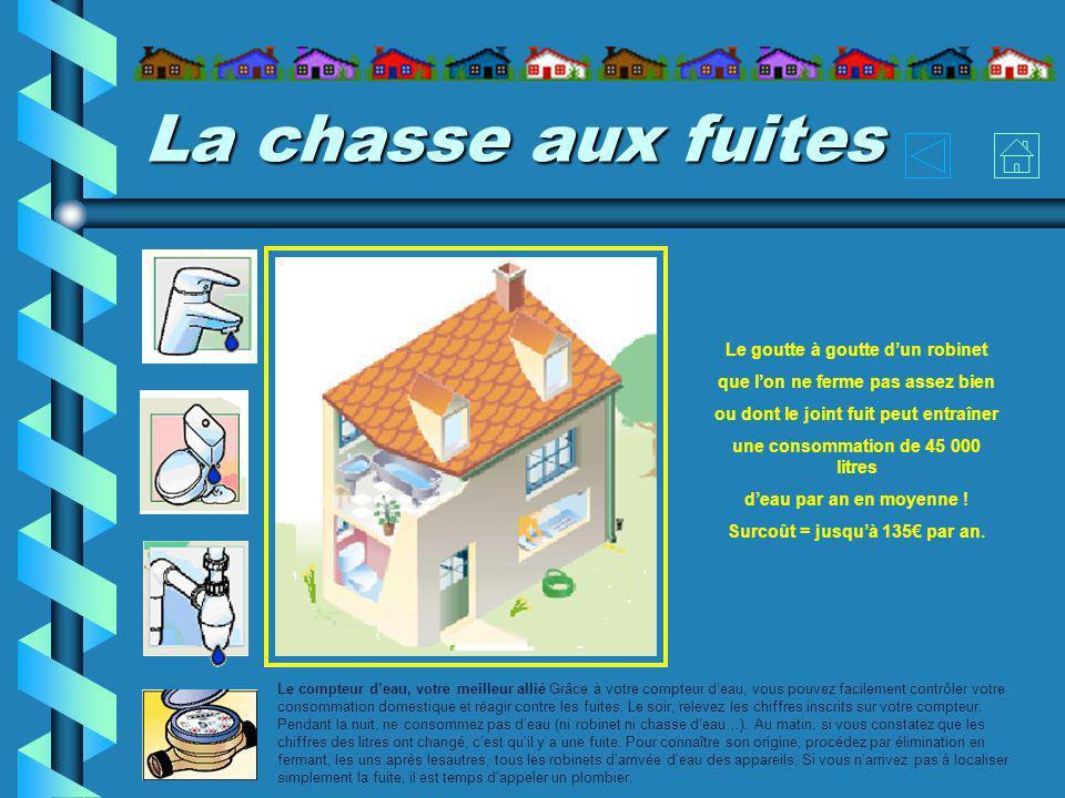 La chasse aux fuites Le compteur deau, votre meilleur allié Grâce à votre compteur deau, vous pouvez facilement contrôler votre consommation domestique et réagir contre les fuites.