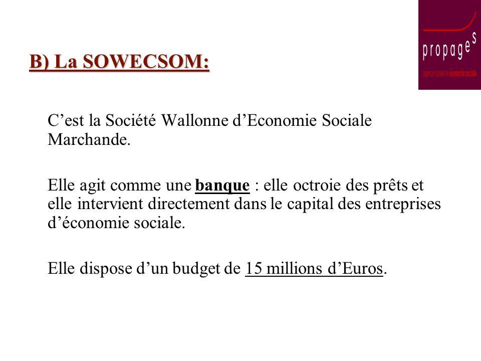 B) La SOWECSOM: Cest la Société Wallonne dEconomie Sociale Marchande. Elle agit comme une banque : elle octroie des prêts et elle intervient directeme
