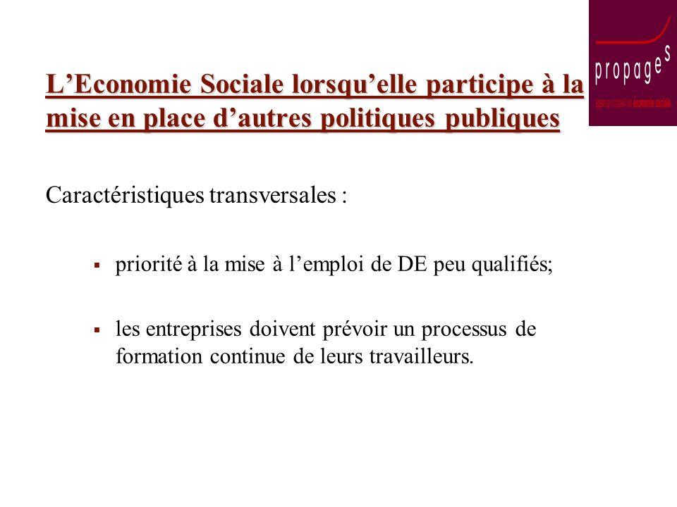 LEconomie Sociale lorsquelle participe à la mise en place dautres politiques publiques Caractéristiques transversales : priorité à la mise à lemploi d