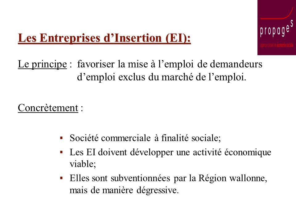 Les Entreprises dInsertion (EI): Le principe : favoriser la mise à lemploi de demandeurs demploi exclus du marché de lemploi. Concrètement : Société c