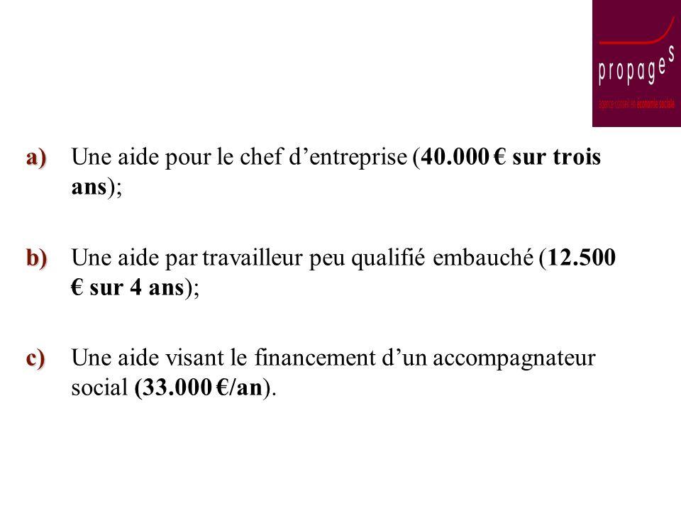 a) a)Une aide pour le chef dentreprise (40.000 sur trois ans); b) b)Une aide par travailleur peu qualifié embauché (12.500 sur 4 ans); c) c)Une aide visant le financement dun accompagnateur social (33.000 /an).