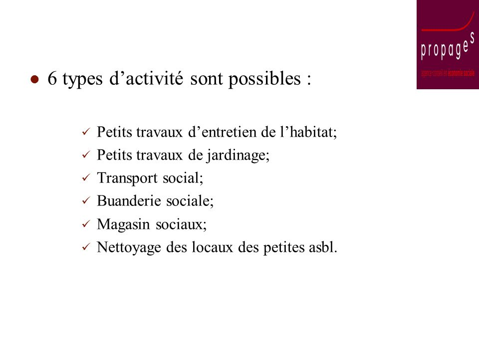 6 types dactivité sont possibles : Petits travaux dentretien de lhabitat; Petits travaux de jardinage; Transport social; Buanderie sociale; Magasin sociaux; Nettoyage des locaux des petites asbl.