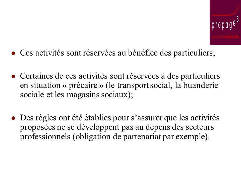 Ces activités sont réservées au bénéfice des particuliers; Certaines de ces activités sont réservées à des particuliers en situation « précaire » (le