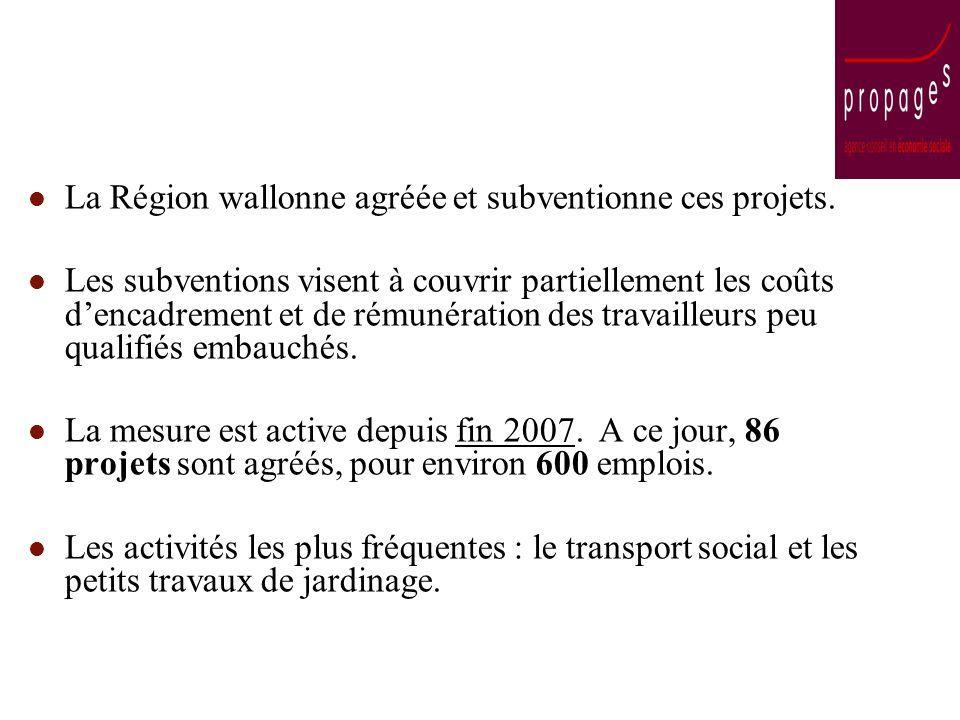 La Région wallonne agréée et subventionne ces projets. Les subventions visent à couvrir partiellement les coûts dencadrement et de rémunération des tr