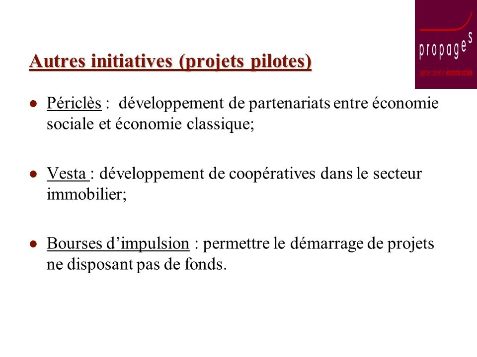 Autres initiatives (projets pilotes) Périclès : développement de partenariats entre économie sociale et économie classique; Vesta : développement de coopératives dans le secteur immobilier; Bourses dimpulsion : permettre le démarrage de projets ne disposant pas de fonds.