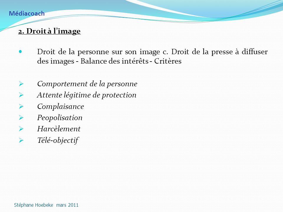 Médiacoach 2.Droit à limage Droit de la personne sur son image c.