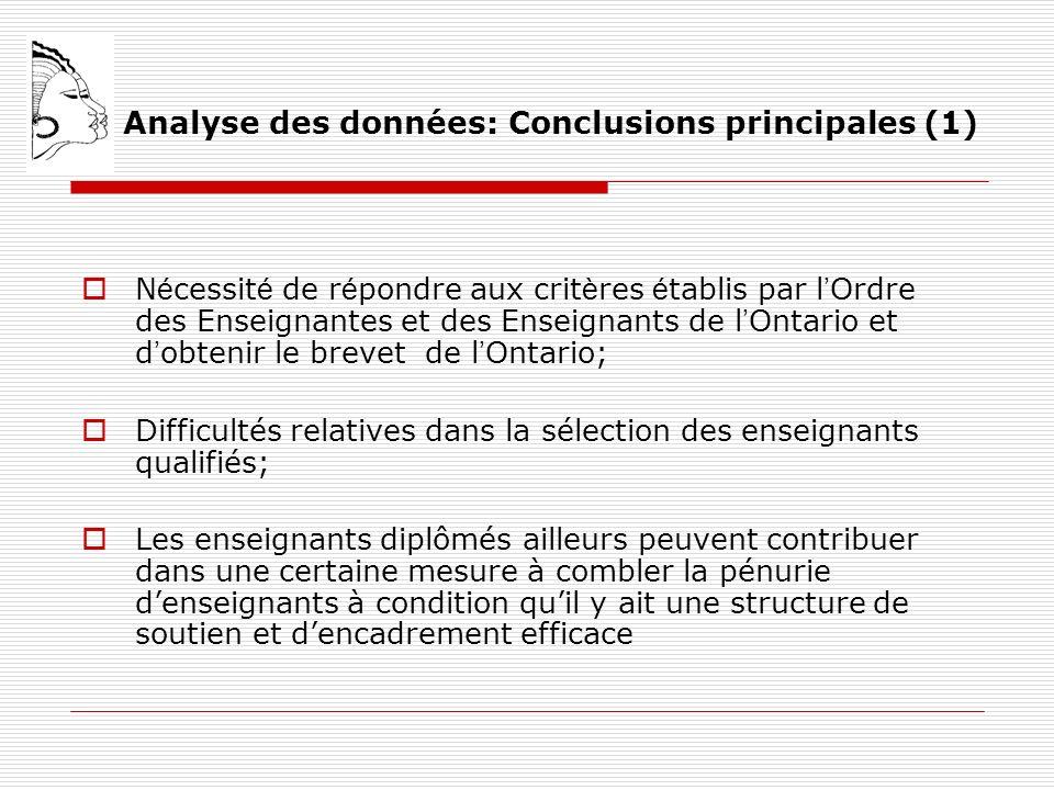 Analyse des données: Conclusions principales (1) N é cessit é de r é pondre aux crit è res é tablis par l Ordre des Enseignantes et des Enseignants de l Ontario et d obtenir le brevet de l Ontario; Difficultés relatives dans la sélection des enseignants qualifiés; Les enseignants diplômés ailleurs peuvent contribuer dans une certaine mesure à combler la pénurie denseignants à condition quil y ait une structure de soutien et dencadrement efficace