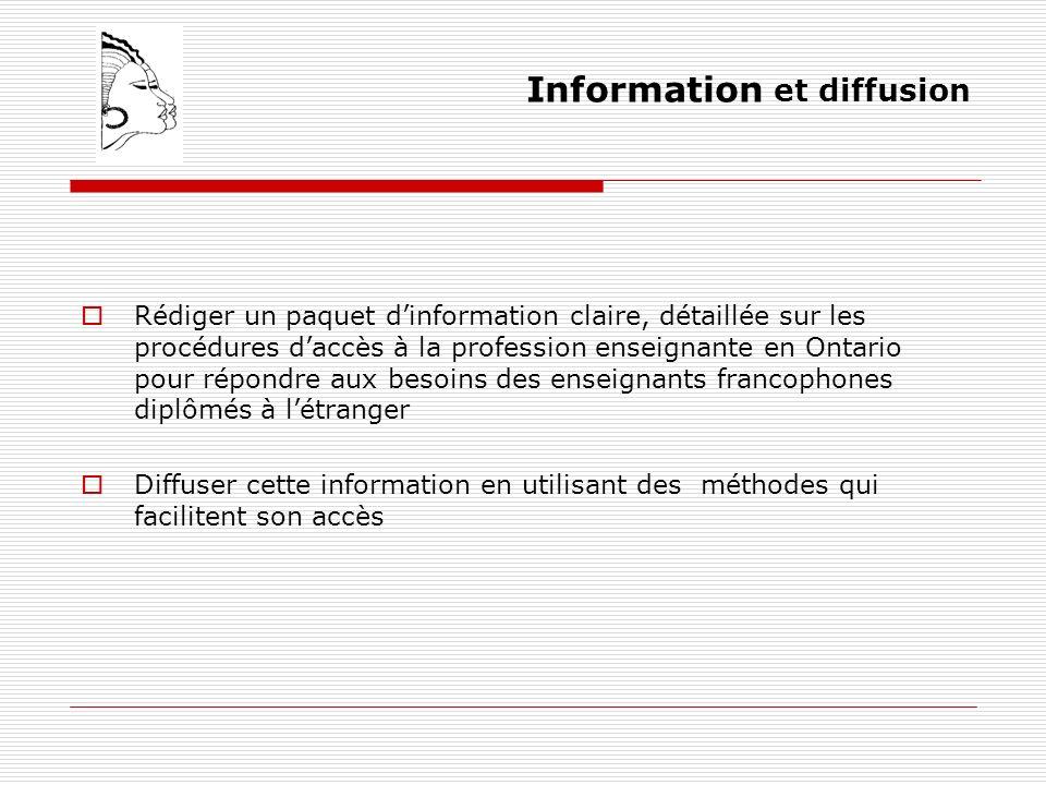Information et diffusion Rédiger un paquet dinformation claire, détaillée sur les procédures daccès à la profession enseignante en Ontario pour répondre aux besoins des enseignants francophones diplômés à létranger Diffuser cette information en utilisant des méthodes qui facilitent son accès
