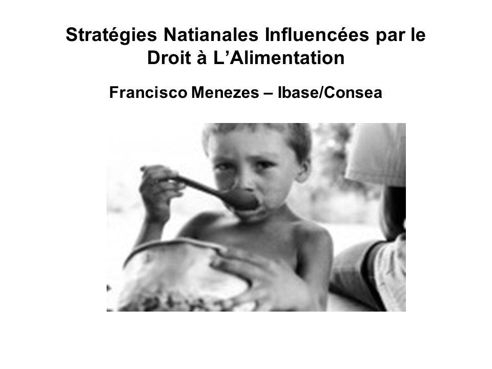 Stratégies Natianales Influencées par le Droit à LAlimentation Francisco Menezes – Ibase/Consea