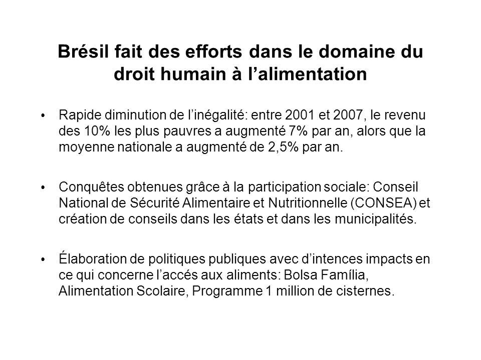Brésil fait des efforts dans le domaine du droit humain à lalimentation Rapide diminution de linégalité: entre 2001 et 2007, le revenu des 10% les plus pauvres a augmenté 7% par an, alors que la moyenne nationale a augmenté de 2,5% par an.