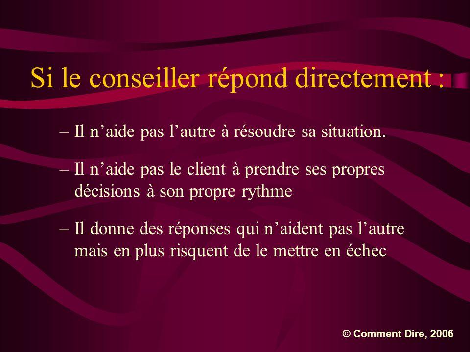 Si le conseiller répond directement : –Il naide pas lautre à résoudre sa situation. –Il naide pas le client à prendre ses propres décisions à son prop
