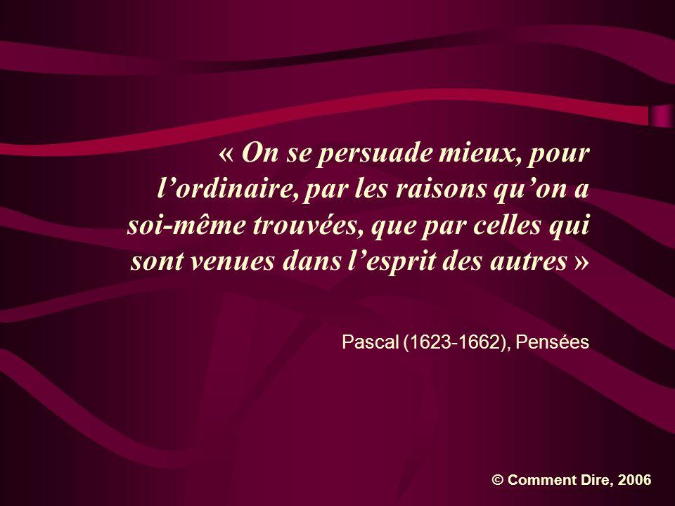 « On se persuade mieux, pour lordinaire, par les raisons quon a soi-même trouvées, que par celles qui sont venues dans lesprit des autres » Pascal (16