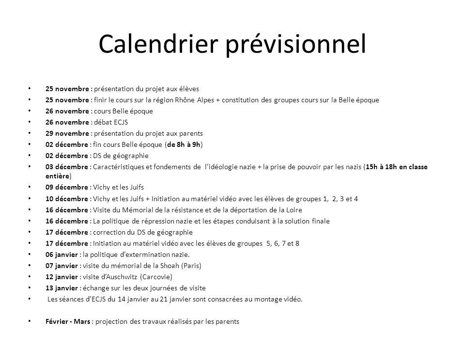 Calendrier prévisionnel 25 novembre : présentation du projet aux élèves 25 novembre : finir le cours sur la région Rhône Alpes + constitution des grou