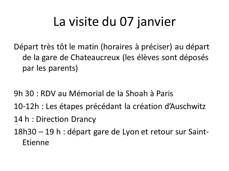 La visite du 07 janvier Départ très tôt le matin (horaires à préciser) au départ de la gare de Chateaucreux (les élèves sont déposés par les parents)
