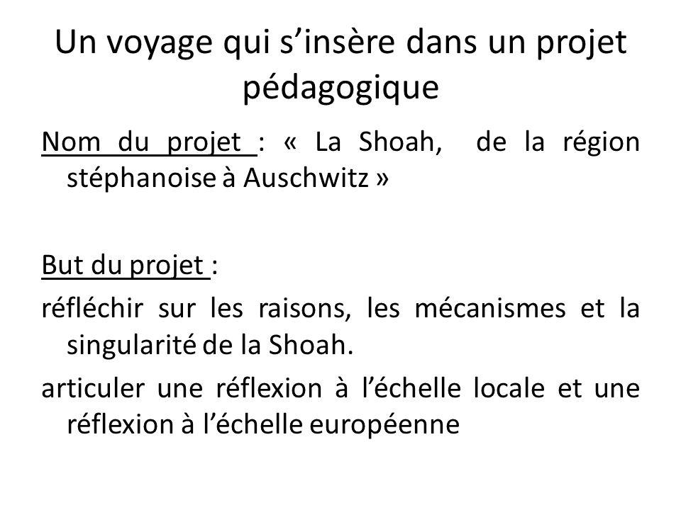 Un voyage qui sinsère dans un projet pédagogique Nom du projet : « La Shoah, de la région stéphanoise à Auschwitz » But du projet : réfléchir sur les
