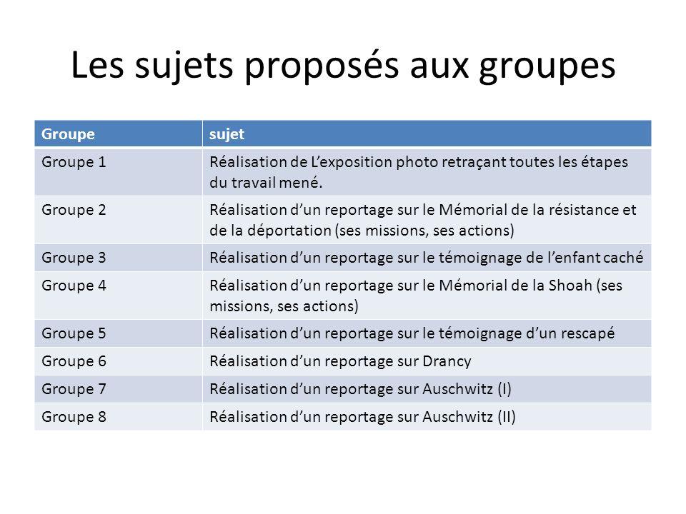 Les sujets proposés aux groupes Groupesujet Groupe 1Réalisation de Lexposition photo retraçant toutes les étapes du travail mené. Groupe 2Réalisation