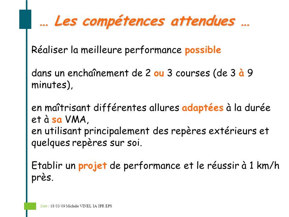 … Les compétences attendues … Réaliser la meilleure performance possible dans un enchaînement de 2 ou 3 courses (de 3 à 9 minutes), en maîtrisant diff