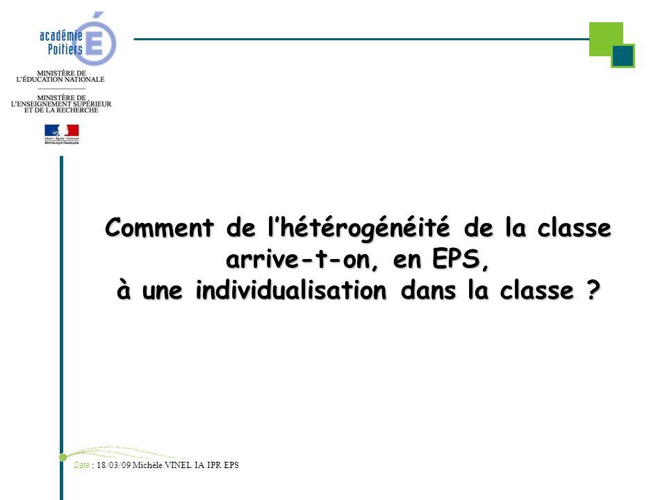 Comment de lhétérogénéité de la classe arrive-t-on, en EPS, à une individualisation dans la classe ? Date : 18/03/09 Michèle VINEL IA IPR EPS