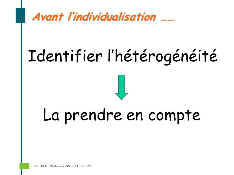 Identifier lhétérogénéité Avant lindividualisation …… La prendre en compte Date : 18/03/09 Michèle VINEL IA IPR EPS