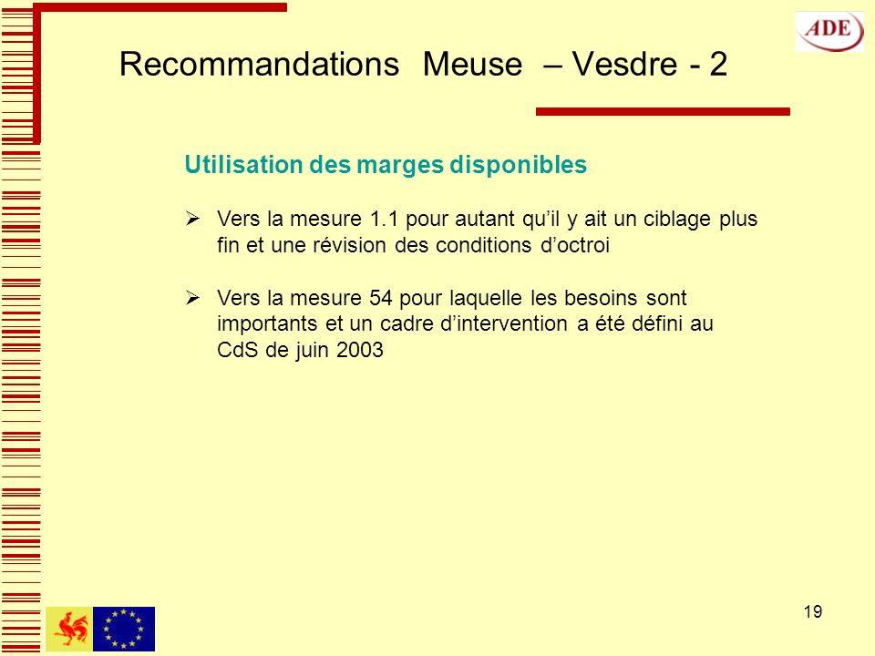 19 Recommandations Meuse – Vesdre - 2 Utilisation des marges disponibles Vers la mesure 1.1 pour autant quil y ait un ciblage plus fin et une révision des conditions doctroi Vers la mesure 54 pour laquelle les besoins sont importants et un cadre dintervention a été défini au CdS de juin 2003