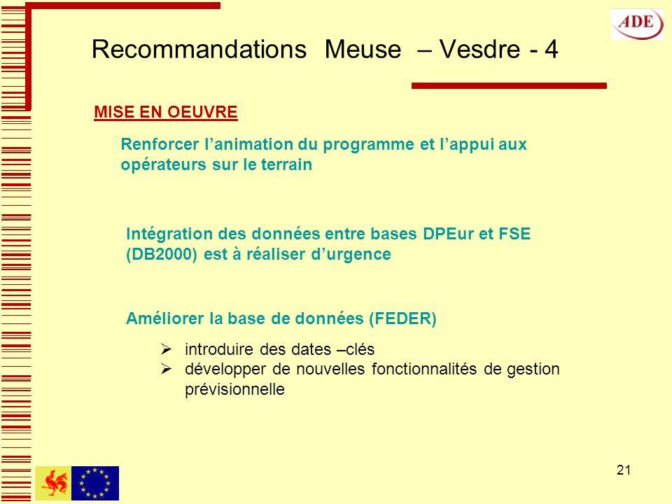 21 Recommandations Meuse – Vesdre - 4 Améliorer la base de données (FEDER) introduire des dates –clés développer de nouvelles fonctionnalités de gestion prévisionnelle MISE EN OEUVRE Renforcer lanimation du programme et lappui aux opérateurs sur le terrain Intégration des données entre bases DPEur et FSE (DB2000) est à réaliser durgence