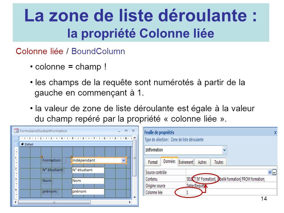 14 Colonne liée / BoundColumn colonne = champ ! les champs de la requête sont numérotés à partir de la gauche en commençant à 1. la valeur de zone de
