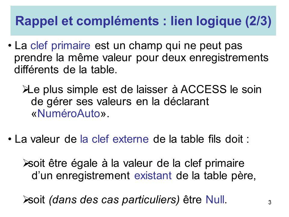 3 La valeur de la clef externe de la table fils doit : soit être égale à la valeur de la clef primaire dun enregistrement existant de la table père, s