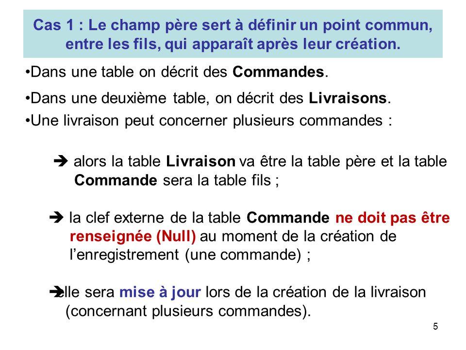 5 Dans une table on décrit des Commandes. Dans une deuxième table, on décrit des Livraisons. Une livraison peut concerner plusieurs commandes : alors