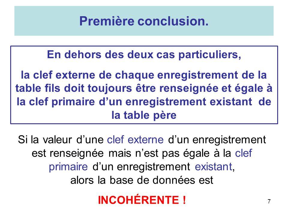 8 1.Ne pas attribuer à une clef externe une valeur sans être certain quelle est égale à la clef primaire dun enregistrement existant.