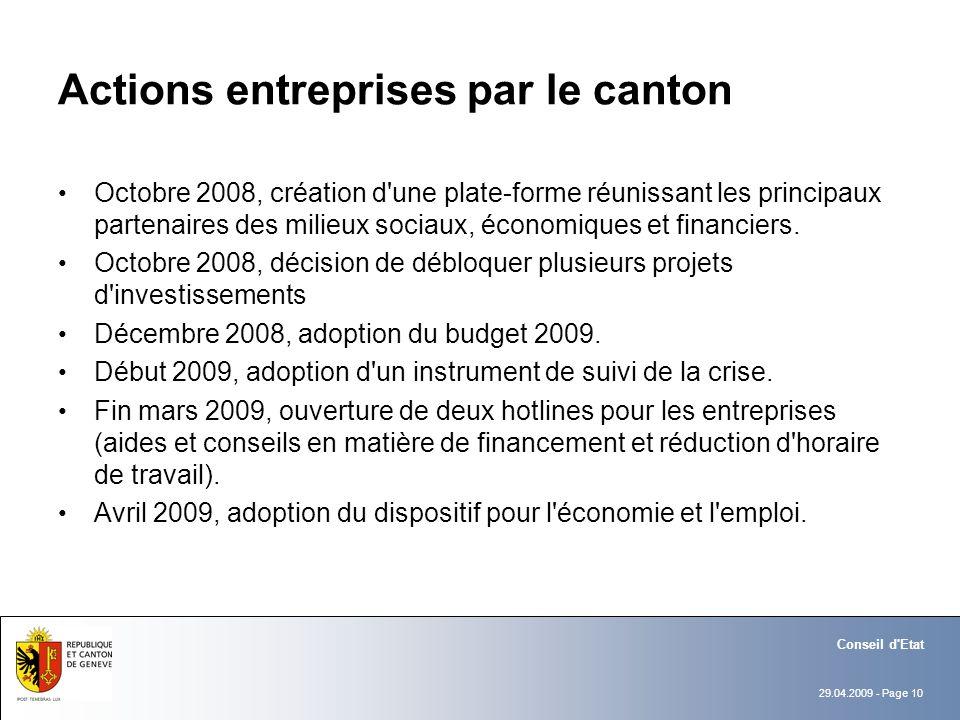 29.04.2009 - Page 10 Conseil d'Etat Actions entreprises par le canton Octobre 2008, création d'une plate-forme réunissant les principaux partenaires d