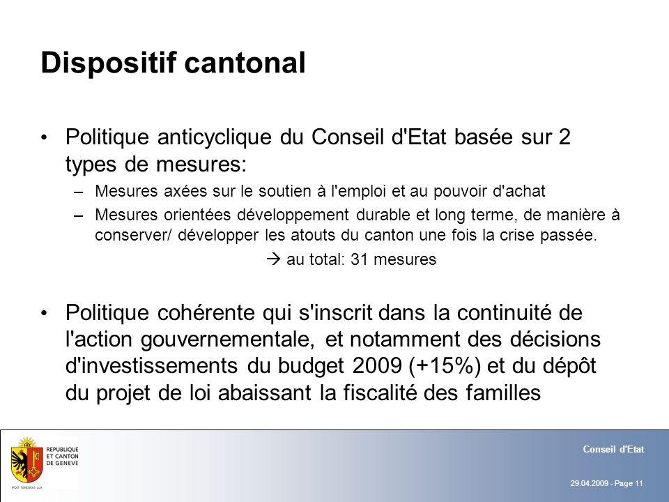 29.04.2009 - Page 11 Conseil d'Etat Dispositif cantonal Politique anticyclique du Conseil d'Etat basée sur 2 types de mesures: –Mesures axées sur le s