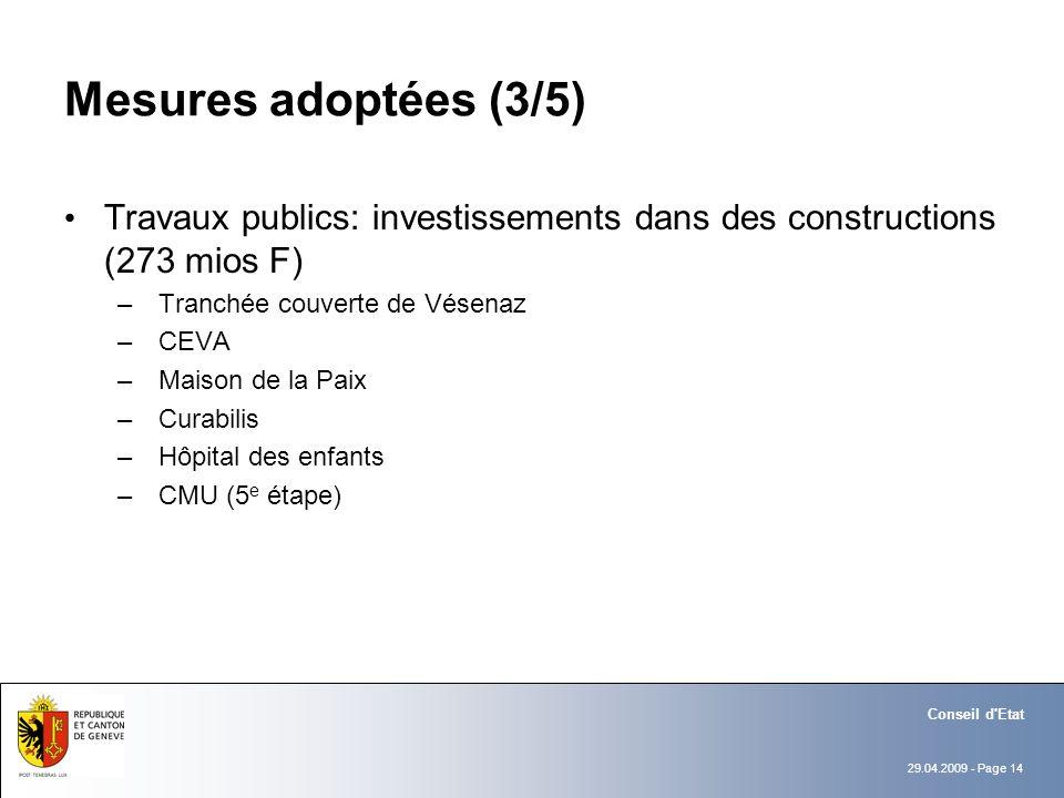 29.04.2009 - Page 14 Conseil d'Etat Mesures adoptées (3/5) Travaux publics: investissements dans des constructions (273 mios F) – Tranchée couverte de