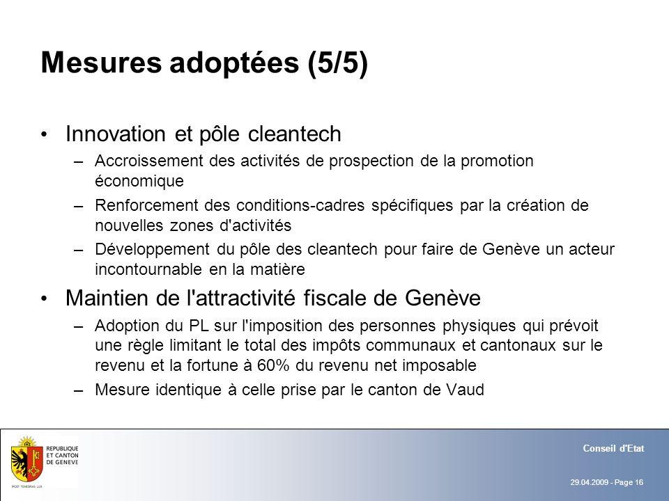 29.04.2009 - Page 16 Conseil d'Etat Mesures adoptées (5/5) Innovation et pôle cleantech –Accroissement des activités de prospection de la promotion éc
