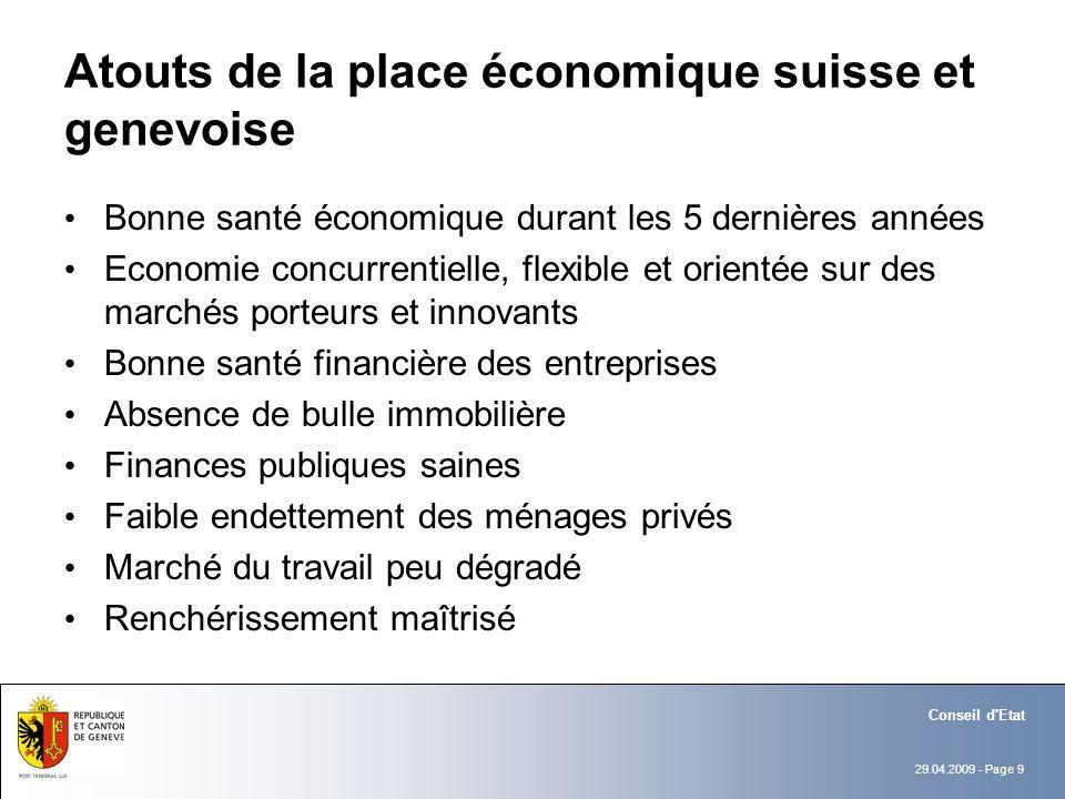 29.04.2009 - Page 9 Conseil d'Etat Atouts de la place économique suisse et genevoise Bonne santé économique durant les 5 dernières années Economie con