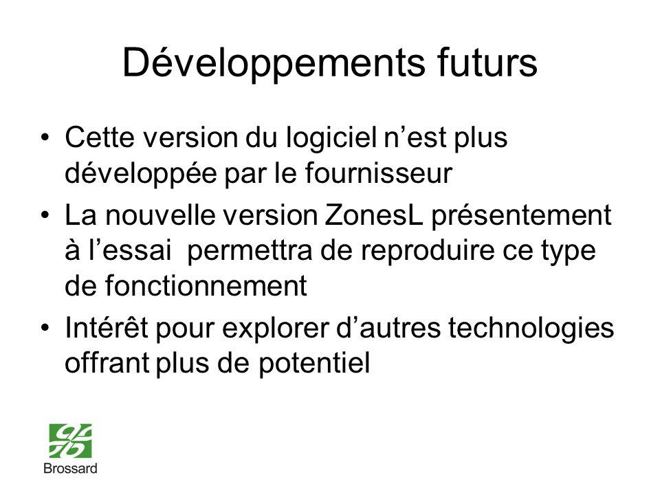 Développements futurs Cette version du logiciel nest plus développée par le fournisseur La nouvelle version ZonesL présentement à lessai permettra de reproduire ce type de fonctionnement Intérêt pour explorer dautres technologies offrant plus de potentiel