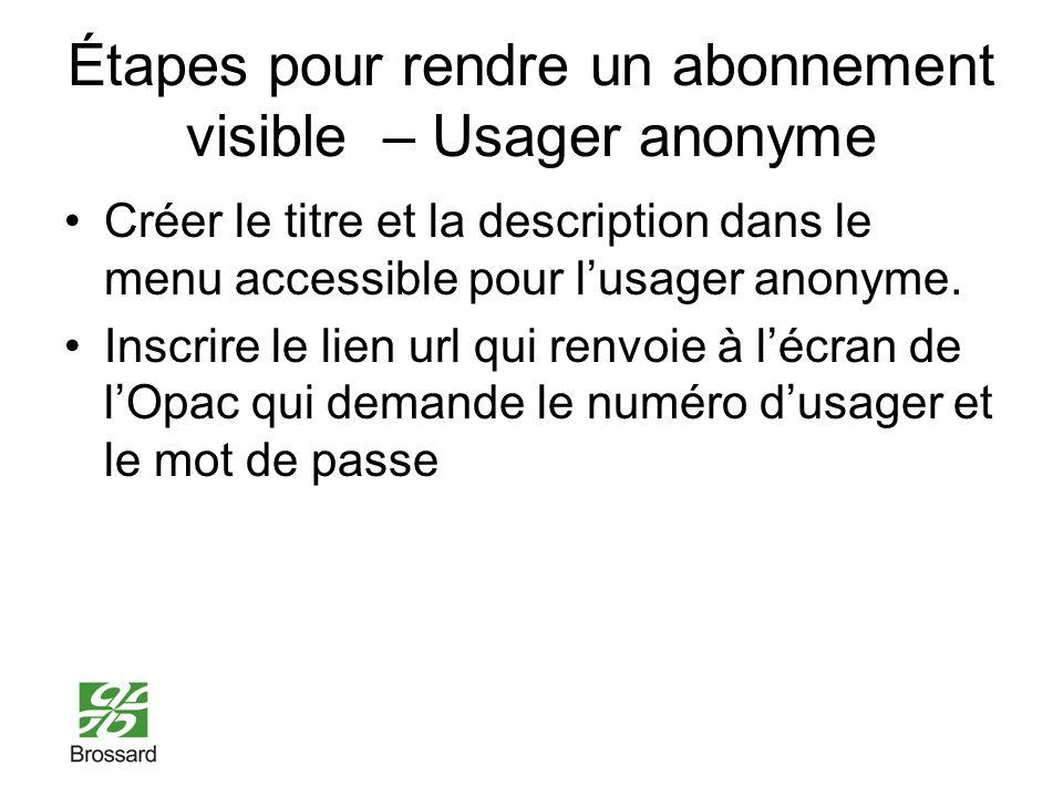 Étapes pour rendre un abonnement visible – Usager anonyme Créer le titre et la description dans le menu accessible pour lusager anonyme.