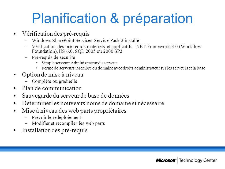 Planification & préparation Vérification des pré-requis –Windows SharePoint Services Service Pack 2 installé –Vérification des pré-requis matériels et