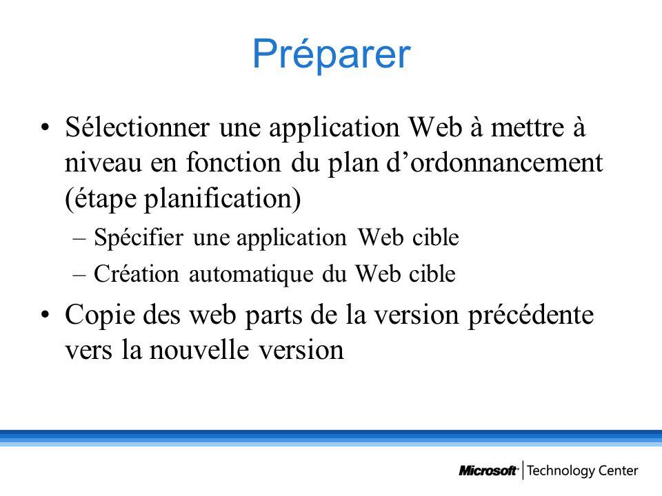 Préparer Sélectionner une application Web à mettre à niveau en fonction du plan dordonnancement (étape planification) –Spécifier une application Web c