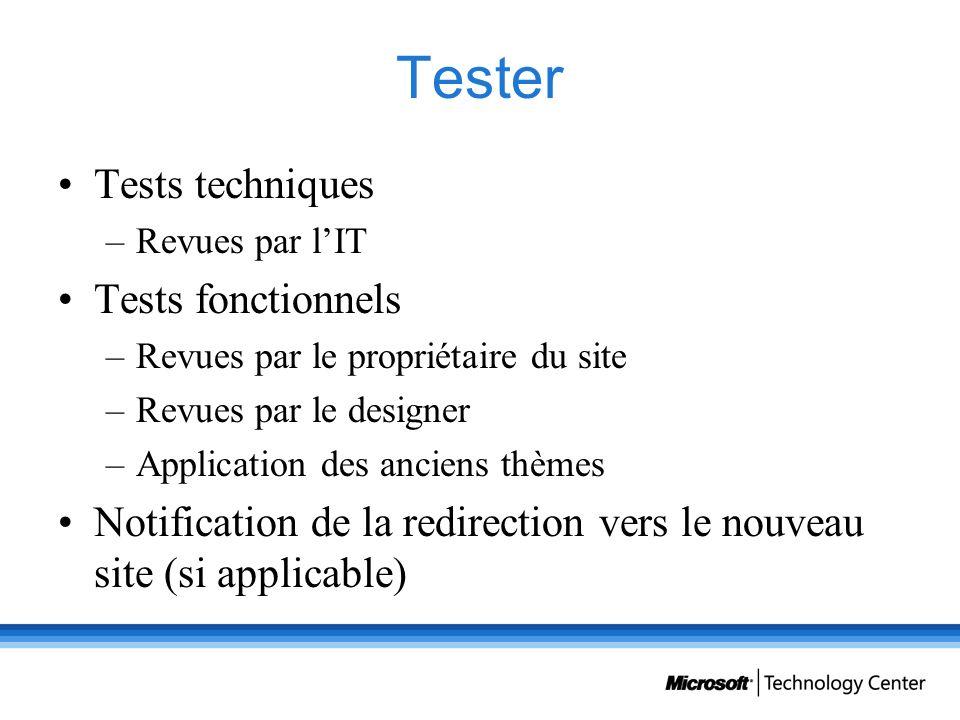 Tester Tests techniques –Revues par lIT Tests fonctionnels –Revues par le propriétaire du site –Revues par le designer –Application des anciens thèmes