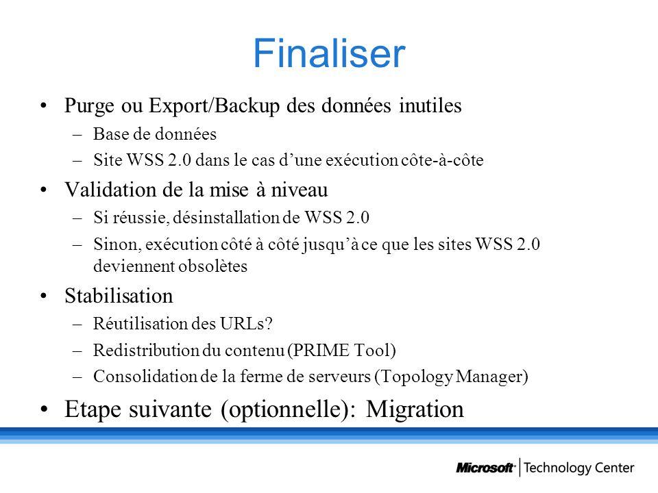 Finaliser Purge ou Export/Backup des données inutiles –Base de données –Site WSS 2.0 dans le cas dune exécution côte-à-côte Validation de la mise à ni