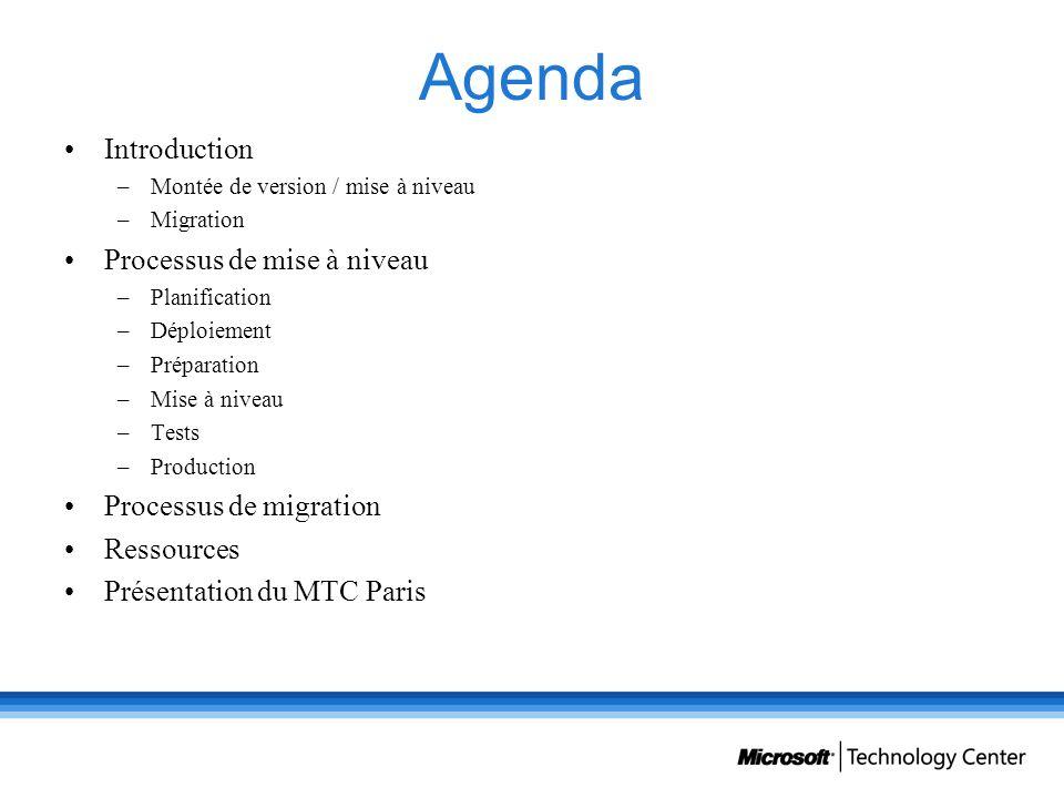 Agenda Introduction –Montée de version / mise à niveau –Migration Processus de mise à niveau –Planification –Déploiement –Préparation –Mise à niveau –