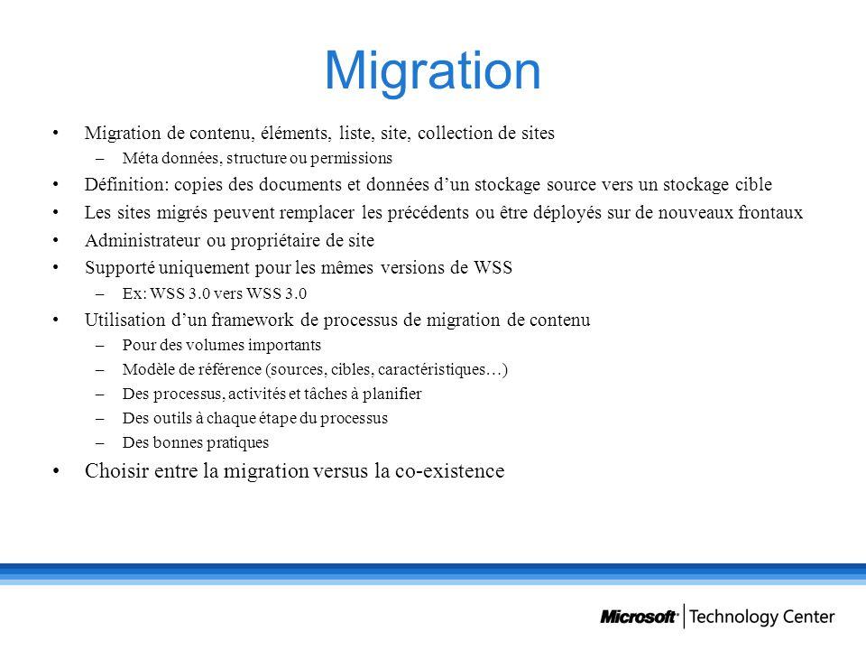 Migration Migration de contenu, éléments, liste, site, collection de sites –Méta données, structure ou permissions Définition: copies des documents et