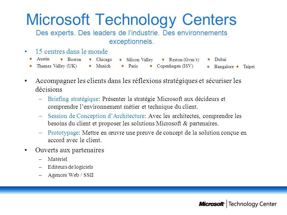 Microsoft Technology Centers Des experts. Des leaders de lindustrie. Des environnements exceptionnels. 15 centres dans le monde Accompagner les client