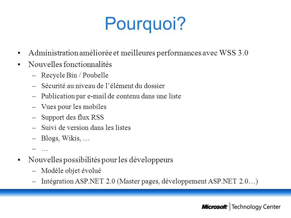 Pourquoi? Administration améliorée et meilleures performances avec WSS 3.0 Nouvelles fonctionnalités –Recycle Bin / Poubelle –Sécurité au niveau de lé