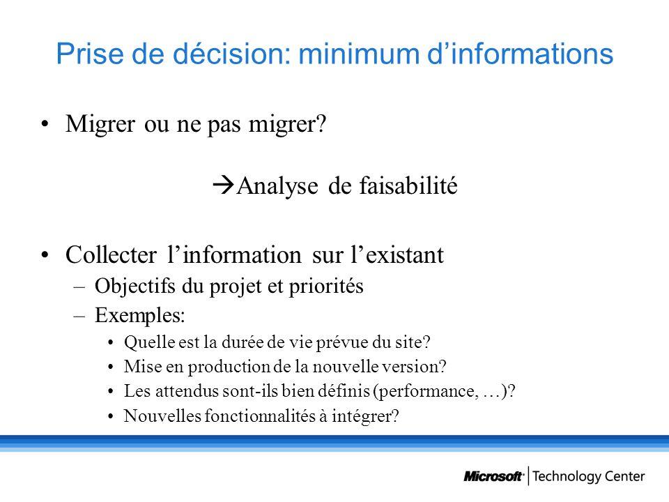 Prise de décision: minimum dinformations Migrer ou ne pas migrer? Analyse de faisabilité Collecter linformation sur lexistant –Objectifs du projet et