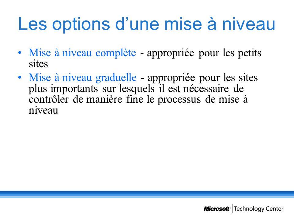 Les options dune mise à niveau Mise à niveau complète - appropriée pour les petits sites Mise à niveau graduelle - appropriée pour les sites plus impo