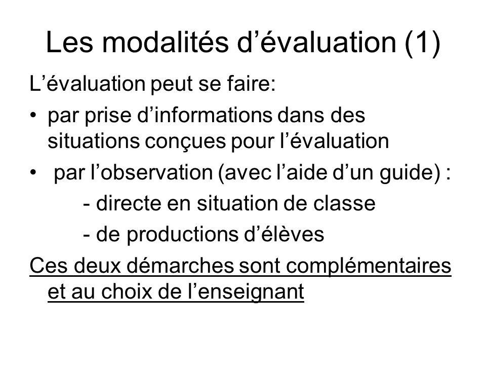 Les modalités dévaluation (1) Lévaluation peut se faire: par prise dinformations dans des situations conçues pour lévaluation par lobservation (avec l